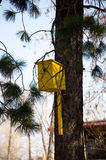 Yellow wooden birdhouse Royalty Free Stock Images