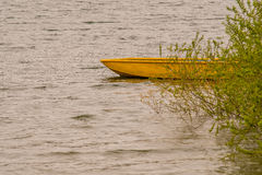 Yellow wooden boat adrift in lake. Small wooden yellow boat drifting in lake with choppy water with a lush green bush covering the rear part of the boat Stock Photos