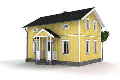 Yellow wooden cottage Stock Photography