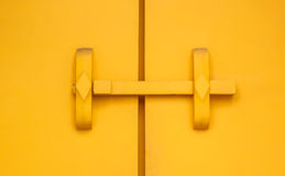 Yellow wooden door Royalty Free Stock Photos