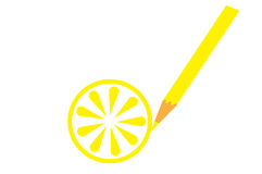 Yellow wooden pencil drawing lemon Stock Images