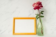 Yellow wooden photo frame mockup, pink rose in glass vase in front of pale marble background. Royalty Free Stock Photography