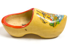 Yellow wooden shoe Stock Image