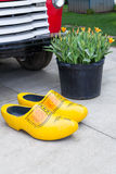 Yellow Wooden Shoes Royalty Free Stock Images