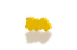 Yellow wooden toy train Stock Photo