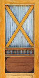 Yellow wooden and zinc door Royalty Free Stock Images