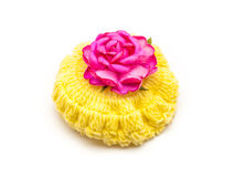 Yellow Wool hat with Pink Rose Stock Images