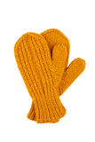 Yellow wool mittens on white Royalty Free Stock Images