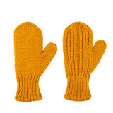 Yellow wool mittens on white Stock Photo