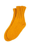 Yellow wool socks isolated Stock Photography