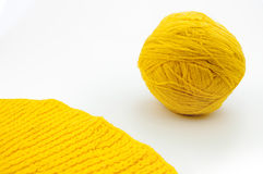 Yellow wool yarn ball isolated on white background Royalty Free Stock Image