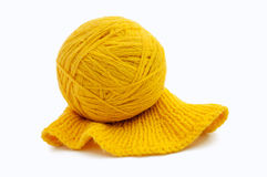 Yellow wool yarn ball isolated on white background Stock Photos
