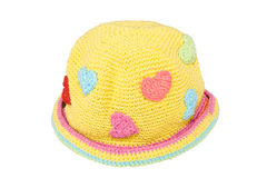 Yellow woolen knit hat Royalty Free Stock Images
