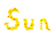 Yellow word sun stock images