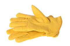 Yellow work golves Stock Photo