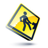 Yellow work sign Royalty Free Stock Photo