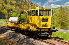 Yellow work train. SKL on a historical railway in Frankische Schweiz, Germany Stock Image