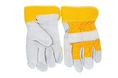 Yellow working gloves Stock Photos