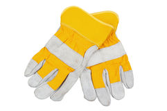 Yellow working gloves. It is isolated on white royalty free stock photo