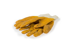 Yellow working gloves Royalty Free Stock Images