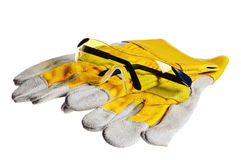 Yellow working goggles and gloves Royalty Free Stock Image