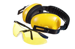 Yellow working goggles And headphones Royalty Free Stock Photography