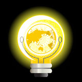 Yellow World Light Bulb Royalty Free Stock Photo