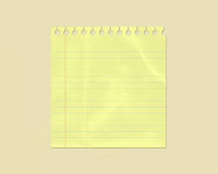 Yellow Wrinkled Lined Note Paper Stock Image