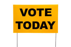 Yellow yard sign with. A yellow yard sign with Vote today on it on a white background Royalty Free Stock Photography