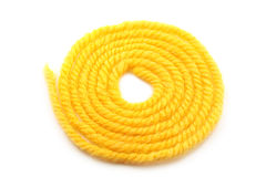 Yellow yarn. On a white background Stock Photography
