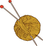 Yellow Yarn Ball and Needles Stock Photography
