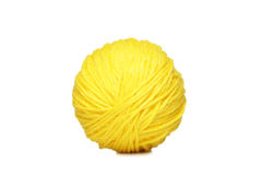 Yellow yarn ball over white Royalty Free Stock Photo