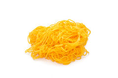 Yellow yarn on white background. Stock Photography
