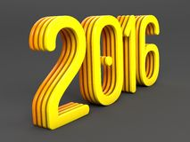 Yellow 2016 year on a gray background. 3d rendered Stock Photo