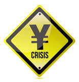 Yellow yen crisis sign illustration design. On white Stock Photos