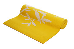 Yellow yoga mat on a white background Royalty Free Stock Photography