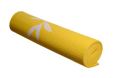 Yellow yoga mat on a white background Stock Photography
