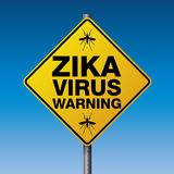 Yellow Zika Virus Warning Sign Illustration Stock Image