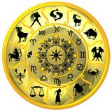 Yellow Zodiac Disc with Signs. And Symbols vector illustration