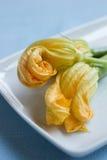 Yellow Zucchini Blossoms. Fresh zucchini blossoms on plate, close up stock photography