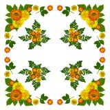 YellowBlossomsNapkinWhite2 Royalty-vrije Stock Foto's