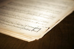 Yellowed music book Stock Image