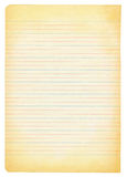 Yellowed notebook paper. Isolated on white background Royalty Free Stock Photography
