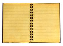 Yellowed open notebook Stock Photos