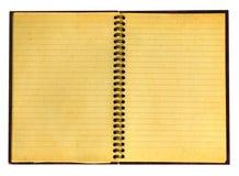Yellowed open notebook Stock Photos