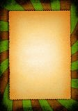 Yellowed paper. Piece of yellow toned paper against a striped material background vector illustration