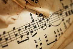 Yellowed sheet of music Royalty Free Stock Photography
