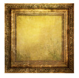 Yellowed wooden frame. On white background Royalty Free Stock Images