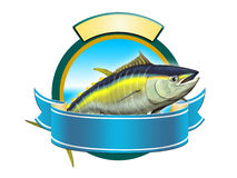 Yellowfin tuna. Yellow-fin tuna label, copy space available to insert your text. Digital illustration Royalty Free Stock Image