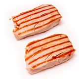 Yellowfin tuna fish steaks isolated on a white background Royalty Free Stock Image